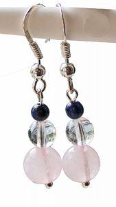 Oorbellen Rozekwarts, Bergkristal en Lapis Lazuli, zilveren oorhaken