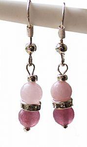 Oorbellen Agaat roze-rood