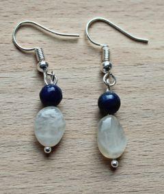 Oorbellen Maansteen en Lapis Lazuli