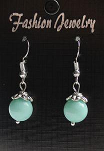 Oorbellen Jade opaque zacht groen 10mm