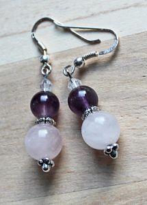 Oorbellen Amethist en Rozekwarts, zilveren oorhaken