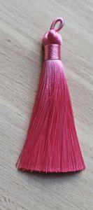 Kwastje of tassel roze, 8,5cm.