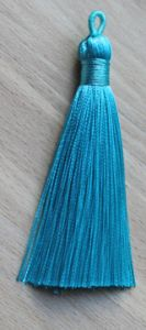 Kwastje of tassel licht blauw 8,5cm.