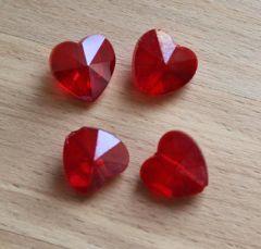 Glaskraal hartje facetgeslepen 14x14x8mm rood transparant. Per stuk.