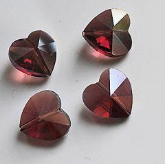 Glaskraal hartje 14x14x8mm, amethist kleur AB. Per stuk.