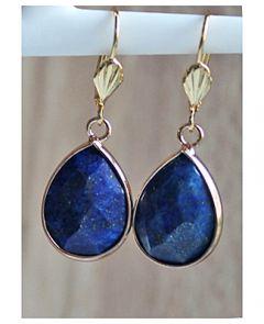 Oorbellen Lapis Lazuli facetgeslepen druppel hangers