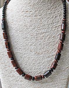 Halsketting Jaspis Mahogany bruin-zwart en zwarte Agaat