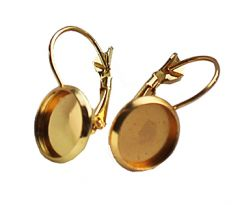 Set klap oorbellen goudkleurig, voor cabochon 10mm