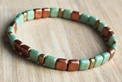 Armband Tila groen en koper