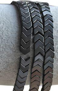 Half snoer Hematiet kralen pijlvormig (arrow) zwart, 6x3mm.