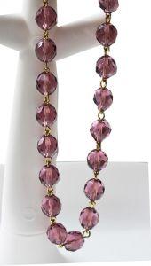 Ketting facetgeslepen ronde lila kristal kralen, 53cm.