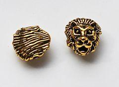 Metalen kraal Leeuwenkop goudkleurig. Per stuk.