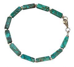 Armband Imperial Jaspis turkooiskleur  en Hematiet zilverkleurig