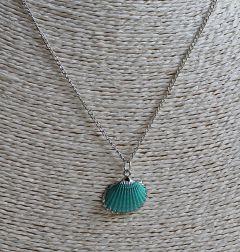 Ketting zilverkleurig met turkoois blauwe schelp hanger