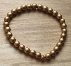 Armband 6mm matte metallic goudkleurige kralen