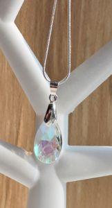 Ketting met kristal facetgeslepen druppel hanger