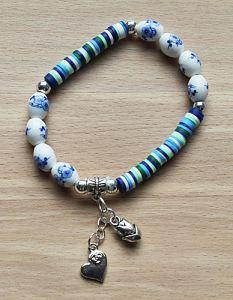 Armband delftsblauwe kralen en Katsuki kralen