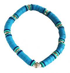 Armband 6mm turkoois blauwe katsuki kralen met strass kralen