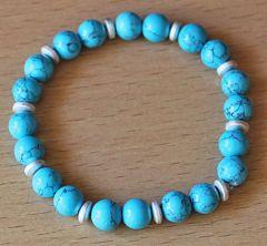 Armband turkoois blauwe 8mm kralen met disc hematiet kralen