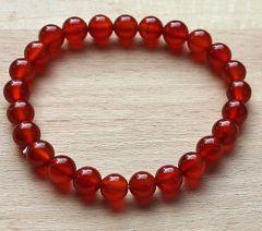 Armband Agaat rood 8mm kralen, 20cm.