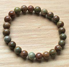 Armband Jaspis aarde kleur natuurlijke kralen 8mm, 21cm.
