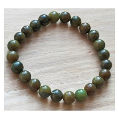 Armband bruine en donkergroene 8mm natuurlijke jadekralen