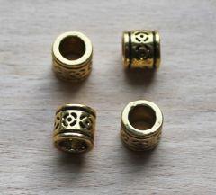 Kraal metaal oud-goud kleur, 8mm. Per stuk.