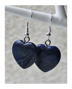 Oorbellen Lapis Lazuli hartje, 20x20mm
