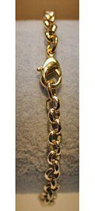 Armband goldplated jasseron schakels 4mm, 17-18cm.