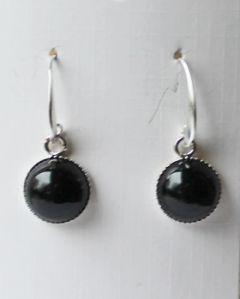 Oorbellen zwarte Agaat 10mm