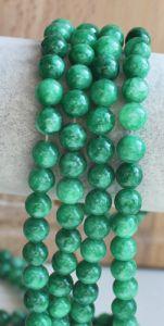 Snoer groene jade 6mm, gemeleerd, natuurlijk