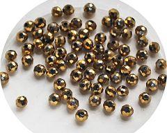 Zakje facetgeslepen goudkleurig plated 4mm kralen