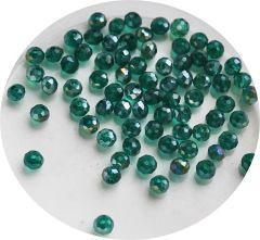 Zakje facetgeslepen glaskralen emerald groen 4mm, 95-100 st.