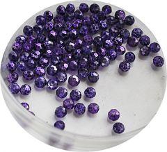 Zakje facetgeslepen paarse glaskralen met plating 4mm, 95-100 st.