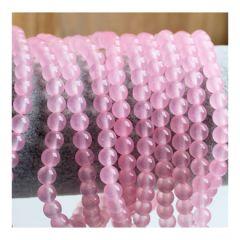 Snoer Jade roze kralen, iets transparant, 6mm