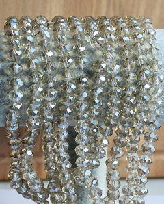 Snoer facetgeslepen kristal kralen 8x6mm lichte kleur, firepolished