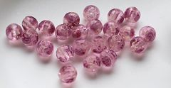 Glaskralen Glow in the Dark roze, 8mm. Per 5 stuks.