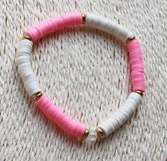 Armband Katsuki roze en wit 6mm