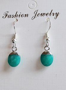 Oorbellen facetgeslepen groen-blauwe Jade