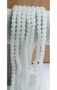Snoer ronde glaskralen gebroken wit 6mm.