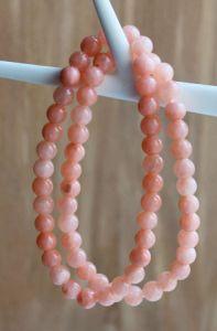 Armband jade roze zalm kleur 6mm, 18-19cm
