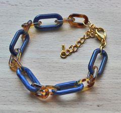 armband donkerblauwe schakels met bruinige tussenschakels