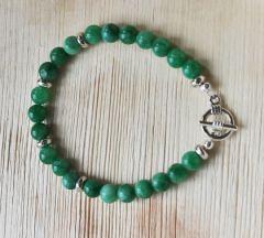 Armband groene 6mm jade met kapittel slotje, 18-19cm