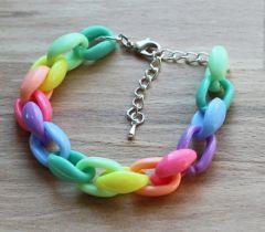 Zomer armband kleurige schakels, 18-cm met verlengketting