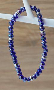 Armband facetgeslepen blauwe glaskralen, 6mm