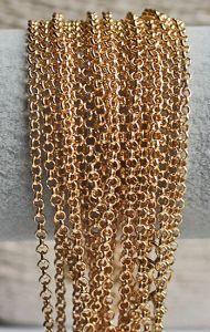 Ketting Jasseron DQ schakels 2,5mm goldplated, 44-45cm