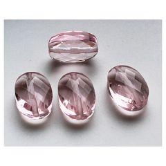 Glaskraal facetgeslepen ovaal vintage roze 14x10x4mm