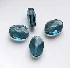 Facetgeslepen glaskraal 14x10x4mm, transparant donker blauw