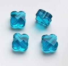 Facetgeslepen glaskraal transparant blauwe klaver, 10x4mm