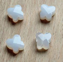 Facetgeslepen glaskraal witte alabaster Vlinder 10x4mm